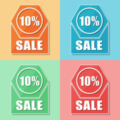 10 percentages sale, four colors web icons