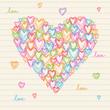 Color doodle cute heart