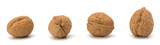 whole and cracked walnut isolated on the white background