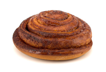 Cinnamon bun isolated on white background