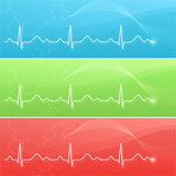 Medical background with cardiogram line in three colors