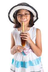 Young Girl With Summer Hat and Fresh Juice Drink