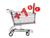 shopping cart with plus 1 percent sign isolated on white backgro