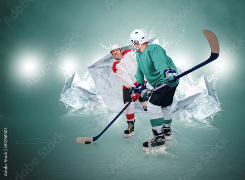 Two ice hockey players with ice cubes background