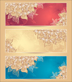 Set Abstract floral banners with flowers shells seaweed