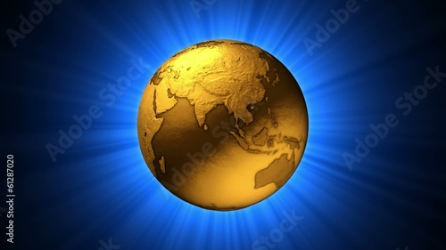 Spinning Gold Globe - Loop with alpha channel