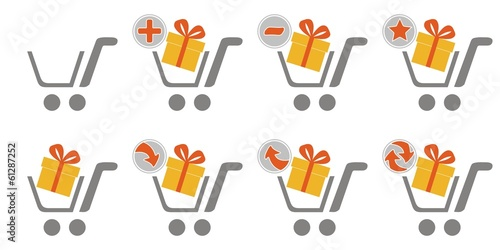 Shopping car web icons - gift box
