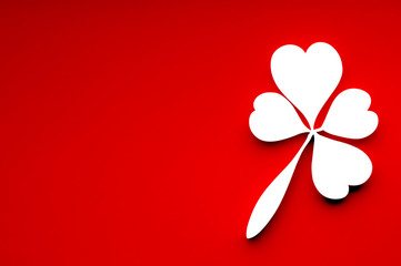 Leaf of clover from hearts. Valentines Day greeting card.