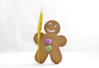 Gingerbread man and wheat