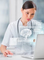 Female doctor scanning brain of patient with help of modern tech