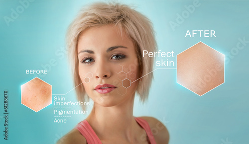 Bright closeup portrait of beautiful woman with skin crops