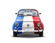 Voiture avec Drapeau France sur Fond Blanc