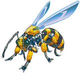 Robot Wasp Vector Clip Art Illustration