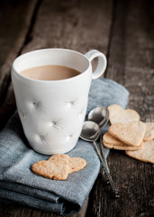 Cup of Tea with Cookies in the Shape Heart