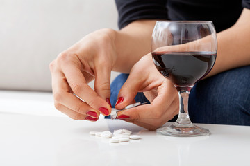 Red wine and pills
