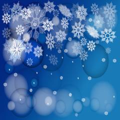 Новый Год фоне снежинок
