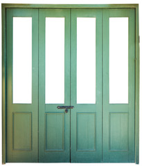 green wood accordion door