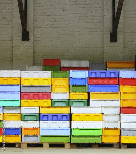 colorful boxes plastic crates containers for fish