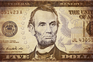 American president Lincoln on the five dollar banknote