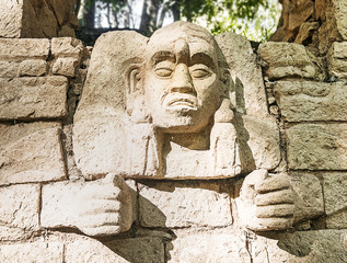 Carved Mayan God at Copan, Honduras