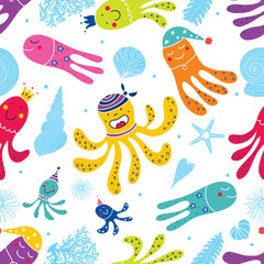 Cute octopuses have fun in the sea.