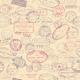 postage themed background with vintage stamps (tiling)