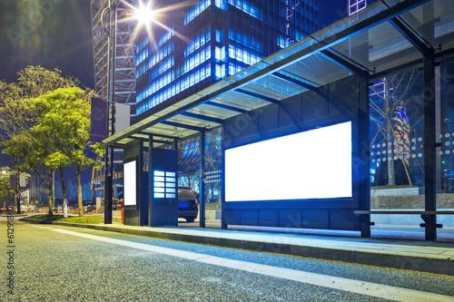 Plexiglas China Blank billboard on bus stop at night