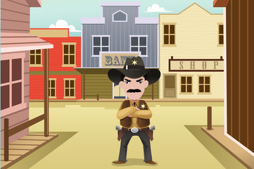 Sheriff standing on an old western town