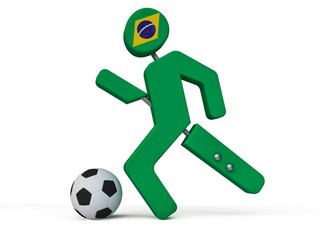 3D Soccer Player with Flag of Brazil