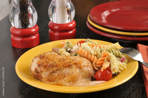 Chicken with pasta salad
