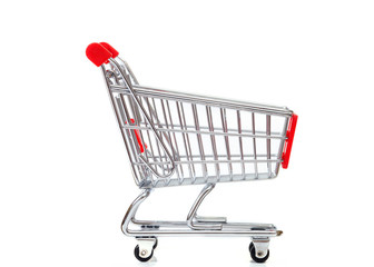 Empty shopping cart isolated against white background
