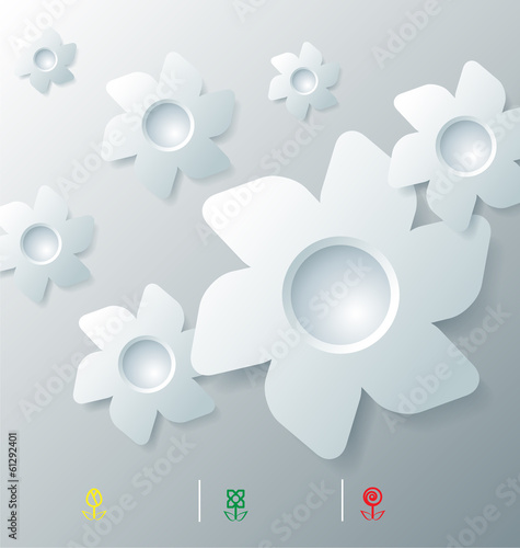 Stylized infographic template with flower bubbles
