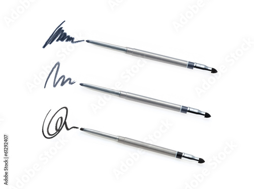 Collection of cosmetic pencil and stroke