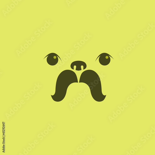 Vector image of pug puppy face design