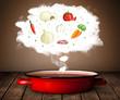 Vegetables in vapor cloud