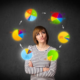 Young woman thinking with pie charts circulation around her head