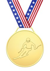 USA golden medal with skier