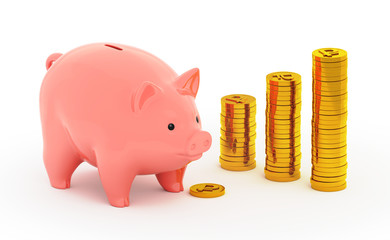 The piggy bank and a piles of golden rubles on white background