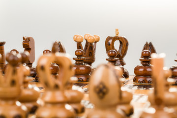 chess board focus to black king and queen