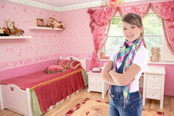 attractive teenage girl in his bedroom