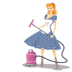 Lady with a vacuum cleaner