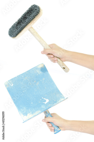 set of hand hold construction bucket trowel and brush isolated