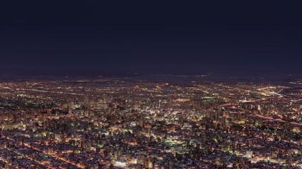 冬の札幌市の夜景(インターバル動画)