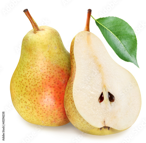 Pears with slice isolated
