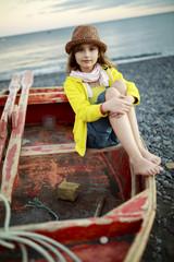 Beach, boat and girl - Portrait of lovely girl