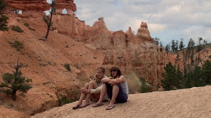 Tourists at the Red Canyon at Dixie National Forest.