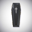 Elegant black coffin with glare and yellow handles - 61296844