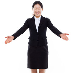 Young Asian business woman spread her arms.