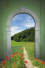 footpath through arched door, springtime landscape with red popp