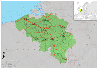 Belgium road relief map